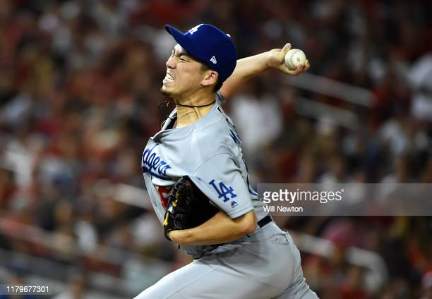 Kenta Maeda of the Los Angeles Dodgers delivers in the fourth inning against the Washington Nationals in game four of the National League Division...