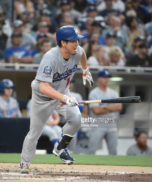 Kenta Maeda of the Los Angeles Dodgers grounds out during the second inning of a baseball game against the San Diego Padres at PETCO Park on July 11...