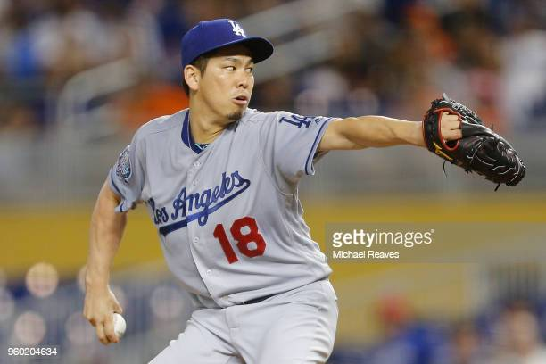 Kenta Maeda of the Los Angeles Dodgers in action against the Miami Marlins at Marlins Park on May 17 2018 in Miami Florida