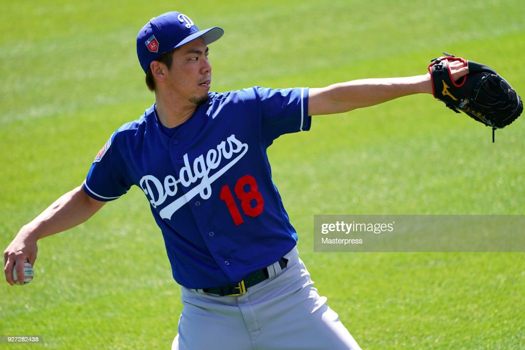 Kenta Maeda #18 of the Los Angeles Dodgers in action during the game against San Francisco Giants on March 4, 2018 in Scottsdale, Arizona.