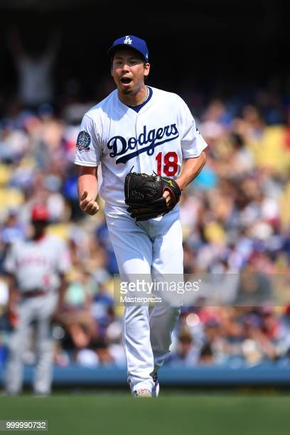 Kenta Maeda of the Los Angeles Dodgers in action during the MLB game against the Los Angeles Angels at Dodger Stadium on July 15 2018 in Los Angeles...