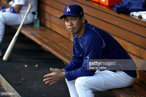 Kenta Maeda of the Los Angeles Dodgers in the dugout as the Dodgers take on the Chicago Cubs in game four of the National League Championship Series...