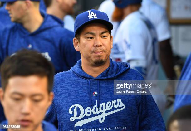Kenta Maeda of the Los Angeles Dodgers in the dugout during the game against the Colorado Rockies at Dodger Stadium on May 22 2018 in Los Angeles...