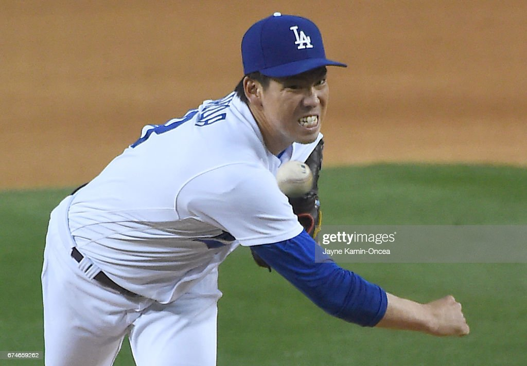 Kenta Maeda #18 of the Los Angeles Dodgers in the third inning of the game against the Philadelphia Phillies at Dodger Stadium on April 28, 2017 in Los Angeles, California.