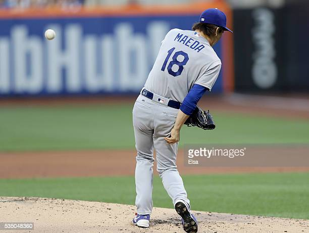 Kenta Maeda of the Los Angeles Dodgers is hit by the ball in the first inning against the New York Mets at Citi Field on May 28 2016 in the Flushing...
