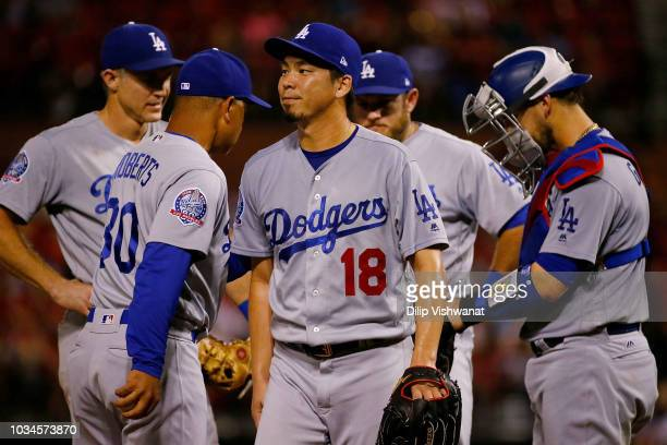 Kenta Maeda of the Los Angeles Dodgers is removed from a game against the St Louis Cardinals in the sixth inning at Busch Stadium on September 16...