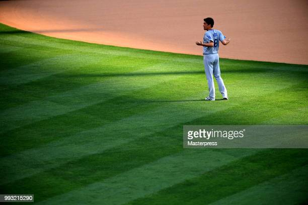 Kenta Maeda of the Los Angeles Dodgers looks on during the MLB game against the Los Angeles Angels of Anaheim at Angel Stadium on July 6 2018 in...
