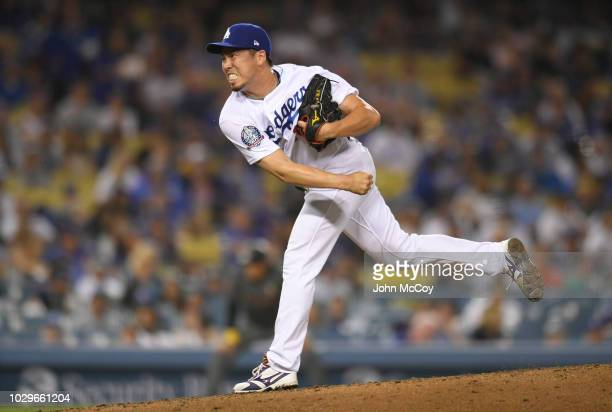 Kenta Maeda of the Los Angeles Dodgers pitches against the Arizona Diamondbacks in eighth inning against the Arizona Diamondbacks at Dodger Stadium...