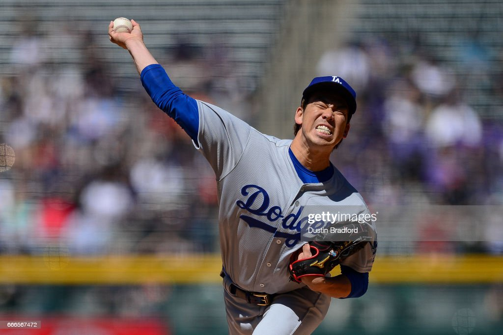 Kenta Maeda #18 of the Los Angeles Dodgers pitches against the Colorado Rockies in the first inning of a game at Coors Field on April 9, 2017 in Denver, Colorado.