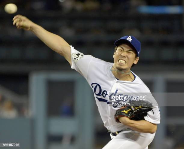 Kenta Maeda of the Los Angeles Dodgers pitches against the Houston Astros in Game 2 of the World Series at Dodger Stadium on Oct 25 2017 ==Kyodo