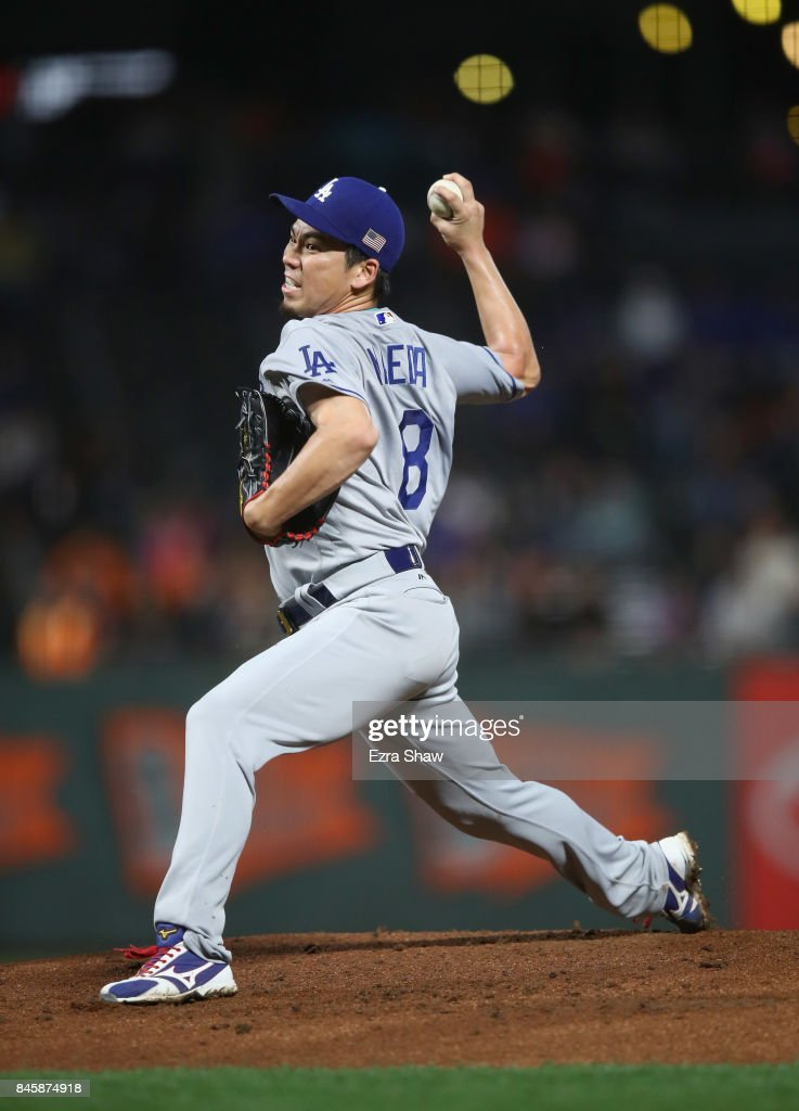 Kenta Maeda #18 of the Los Angeles Dodgers pitches against the San Francisco Giants in the first inning at AT&T Park on September 11, 2017 in San Francisco, California.