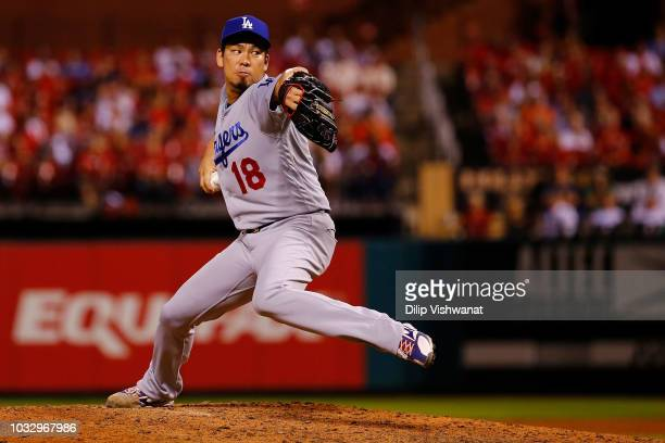 Kenta Maeda of the Los Angeles Dodgers pitches against the St Louis Cardinals in the seventh inning at Busch Stadium on September 13 2018 in St Louis...