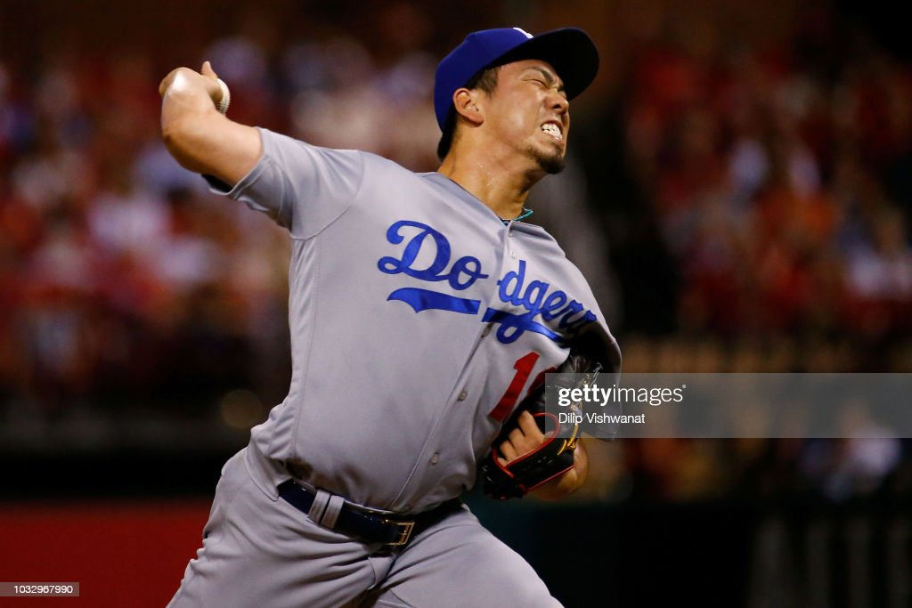 Kenta Maeda #18 of the Los Angeles Dodgers pitches against the St. Louis Cardinals in the seventh inning at Busch Stadium on September 13, 2018 in St. Louis, Missouri.