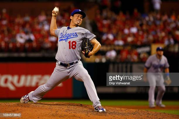 Kenta Maeda of the Los Angeles Dodgers pitches against the St Louis Cardinals in the fifth inning at Busch Stadium on September 16 2018 in St Louis...