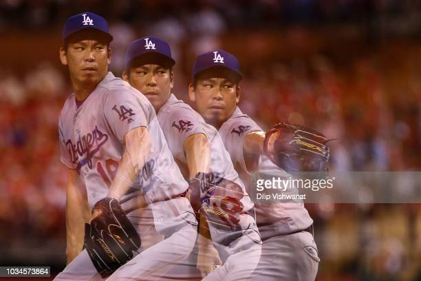 Kenta Maeda of the Los Angeles Dodgers pitches against the St Louis Cardinals in the sixth inning at Busch Stadium on September 16 2018 in St Louis...