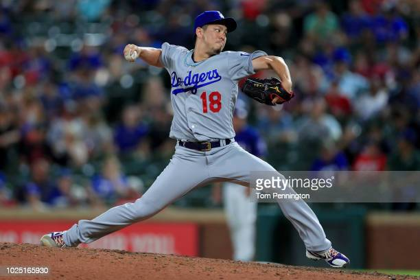 Kenta Maeda of the Los Angeles Dodgers pitches against the Texas Rangers in the bottom of the ninth inning at Globe Life Park in Arlington on August...