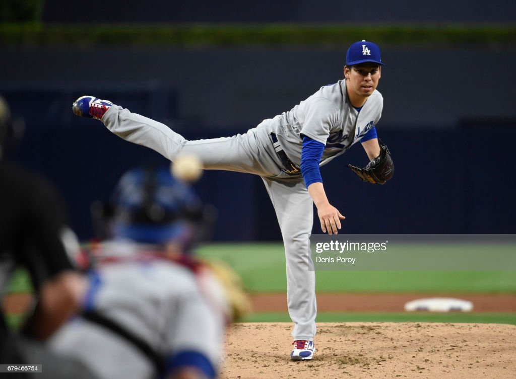 Kenta Maeda #18 of the Los Angeles Dodgers pitches during the first inning of a baseball game against the San Diego Padres at PETCO Park on May 5, 2017 in San Diego, California.