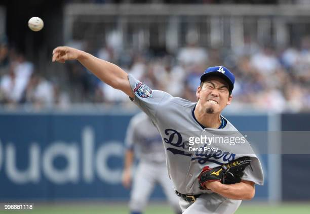 Kenta Maeda of the Los Angeles Dodgers pitches during the first inning of a baseball game against the San Diego Padres at PETCO Park on July 11 2018...