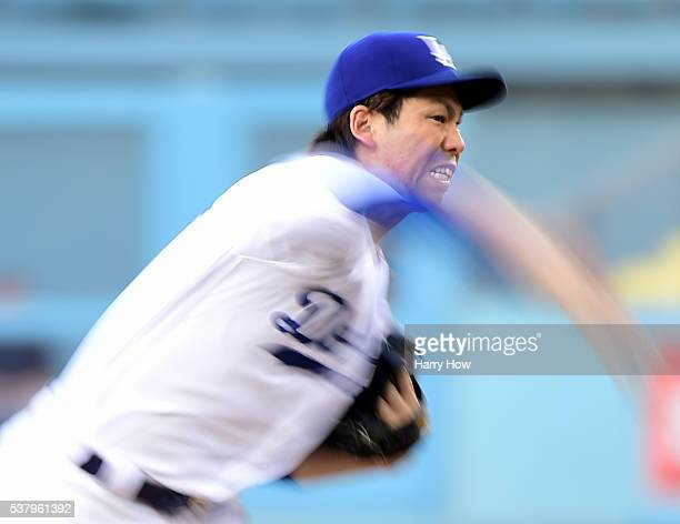 Kenta Maeda of the Los Angeles Dodgers pitches during the first inning against the Atlanta Braves at Dodger Stadium on June 3 2016 in Los Angeles...