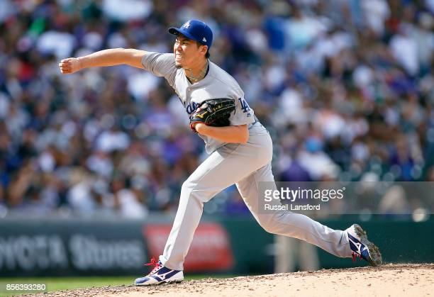 Kenta Maeda of the Los Angeles Dodgers pitches during the fourth inning of a regular season MLB game between the Colorado Rockies and the visiting...