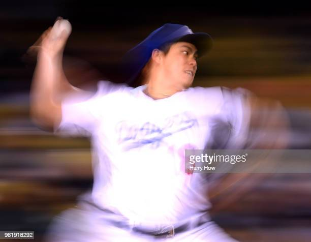 Kenta Maeda of the Los Angeles Dodgers pitches during the sixth inning against the Colorado Rockies at Dodger Stadium on May 23 2018 in Los Angeles...