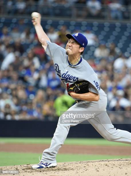 Kenta Maeda of the Los Angeles Dodgers pitches during the third inning of a baseball game against the San Diego Padres at PETCO Park on July 11 2018...