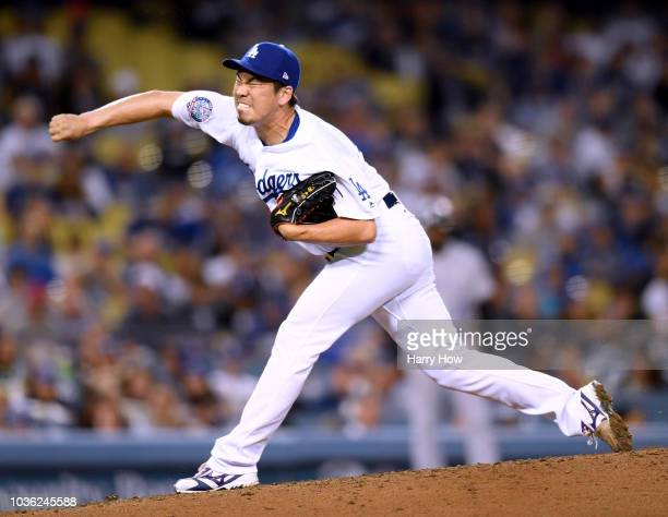 Kenta Maeda of the Los Angeles Dodgers pitches in relief during the eighth inning against the Colorado Rockies at Dodger Stadium on September 19 2018...