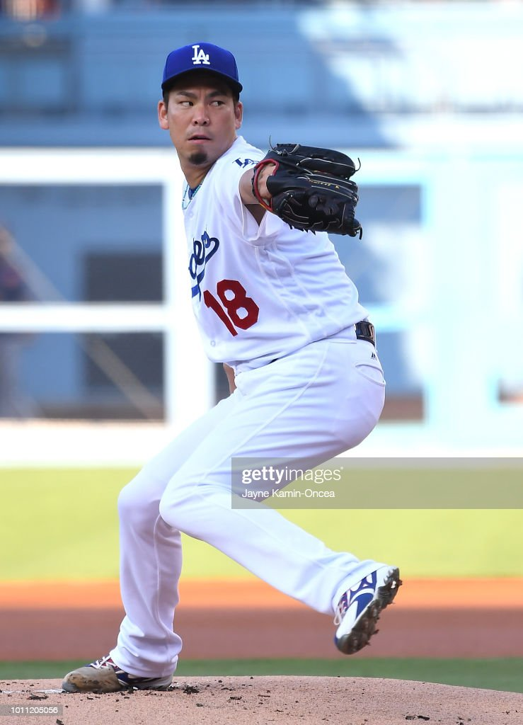 Kenta Maeda #18 of the Los Angeles Dodgers pitches in the first inning of the game against the Houston Astros at Dodger Stadium on August 4, 2018 in Los Angeles, California.