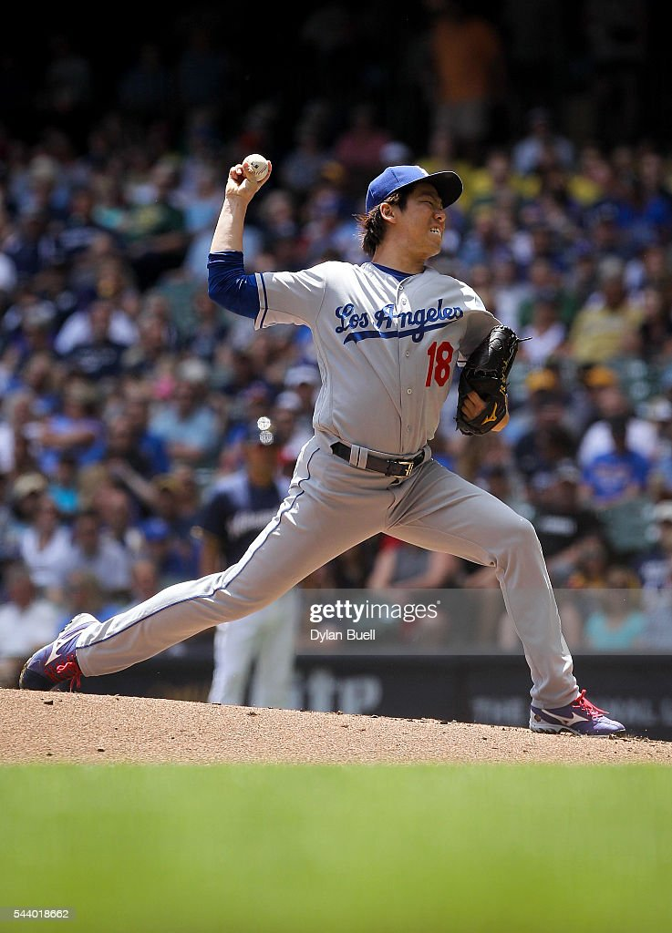 Kenta Maeda #18 of the Los Angeles Dodgers pitches in the first inning against the Milwaukee Brewers at Miller Park on June 30, 2016 in Milwaukee, Wisconsin.