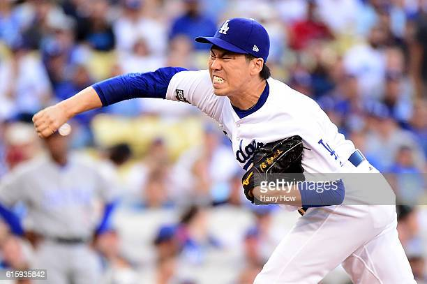 Kenta Maeda of the Los Angeles Dodgers pitches in the first inning against the Chicago Cubs in game five of the National League Division Series at...