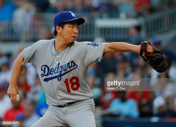 Kenta Maeda of the Los Angeles Dodgers pitches in the first inning against the Atlanta Braves at SunTrust Park on August 1 2017 in Atlanta Georgia