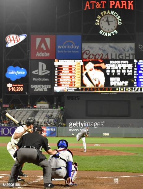 Kenta Maeda of the Los Angeles Dodgers pitches in the first inning against the San Francisco Giants at ATampT Park in San Francisco on Sept 11 after...