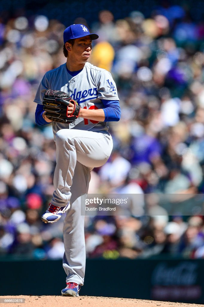Kenta Maeda #18 of the Los Angeles Dodgers pitches in the second inning of a game against the Colorado Rockies at Coors Field on April 9, 2017 in Denver, Colorado.