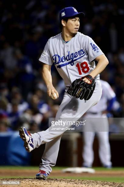 Kenta Maeda of the Los Angeles Dodgers pitches in the seventh inning against the Chicago Cubs during game four of the National League Championship...