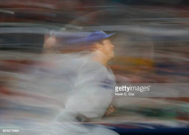 Kenta Maeda of the Los Angeles Dodgers pitches in the sixth inning against the Atlanta Braves at SunTrust Park on August 1 2017 in Atlanta Georgia
