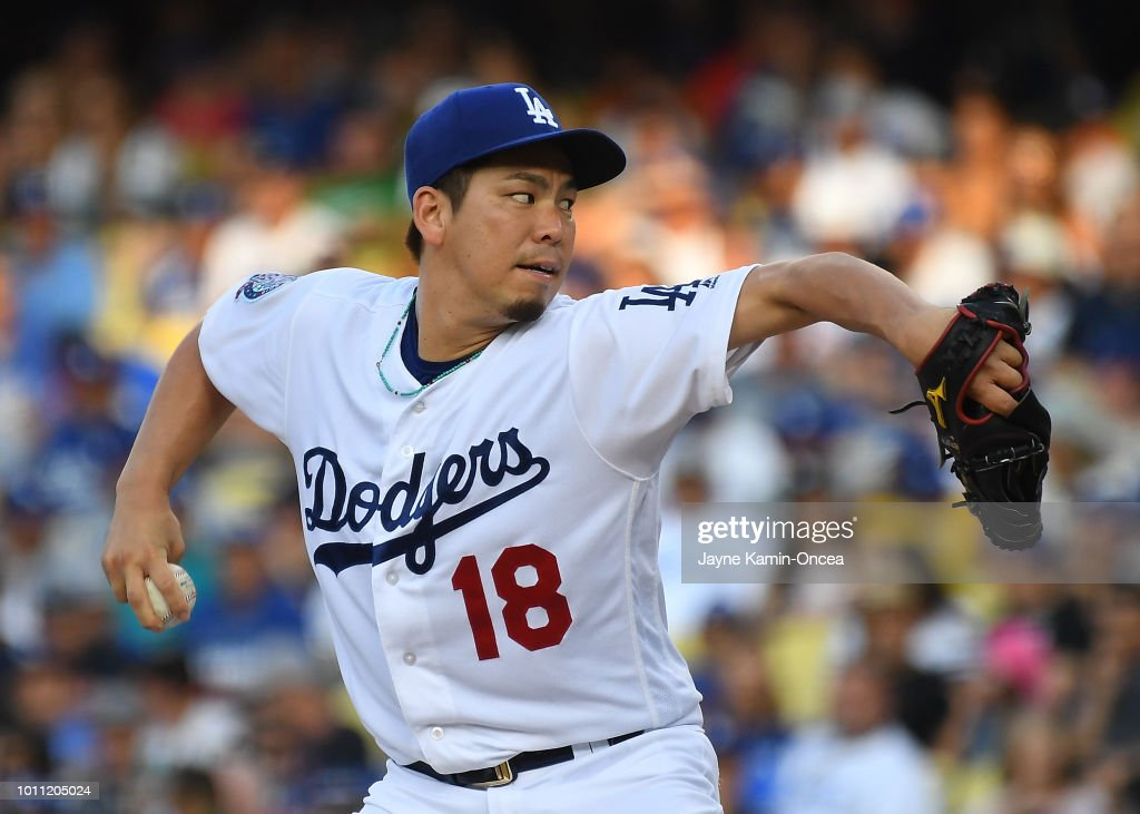 Kenta Maeda #18 of the Los Angeles Dodgers pitches in the third inning of the game against the Houston Astros at Dodger Stadium on August 4, 2018 in Los Angeles, California.