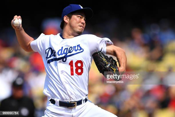 Kenta Maeda of the Los Angeles Dodgers pitchs during the MLB game against the Los Angeles Angels at Dodger Stadium on July 15 2018 in Los Angeles...