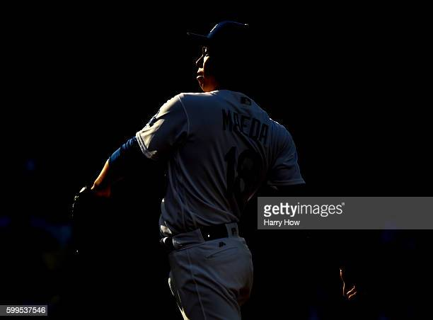 Kenta Maeda of the Los Angeles Dodgers prepares to pitch to the Arizona Diamondbacks during the first inning at Dodger Stadium on September 5 2016 in...
