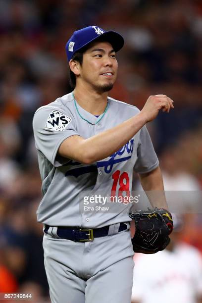Kenta Maeda of the Los Angeles Dodgers reacts after a pitch during the third inning against the Houston Astros in game three of the 2017 World Series...