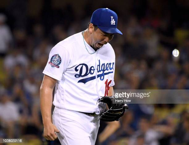 Kenta Maeda of the Los Angeles Dodgers reacts to the third out of the eighth inning against the New York Mets at Dodger Stadium on September 3 2018...