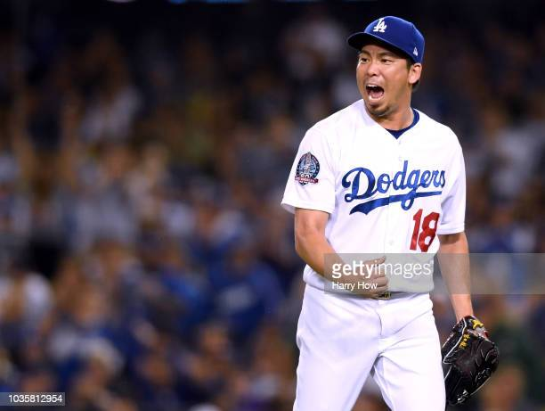 Kenta Maeda of the Los Angeles Dodgers reacts to the third out of the eighth inning against the Colorado Rockies at Dodger Stadium on September 18...