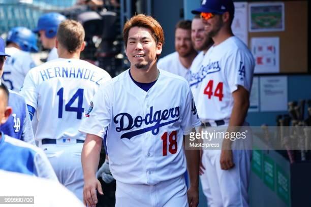 Kenta Maeda of the Los Angeles Dodgers smiles during the MLB game against the Los Angeles Angels at Dodger Stadium on July 15 2018 in Los Angeles...