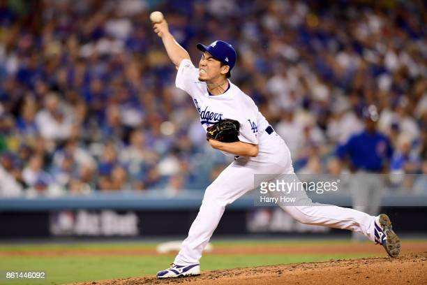 Kenta Maeda of the Los Angeles Dodgers throws a pitch against the Chicago Cubs during the sixth inning in Game One of the National League...