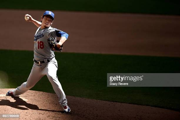 Kenta Maeda of the Los Angeles Dodgers throws a pitch during the fourth inning of a game against the Milwaukee Brewers at Miller Park on June 4 2017...
