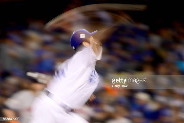 Kenta Maeda of the Los Angeles Dodgers throws a pitch during the seventh inning against the Houston Astros in game six of the 2017 World Series at...