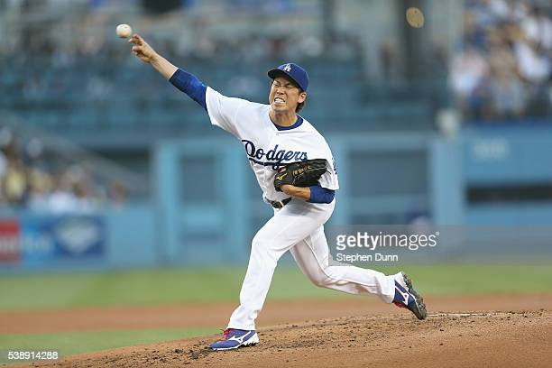Kenta Maeda of the Los Angeles Dodgers throws a pitch in the second inning against the Colorado Rockies at Dodger Stadium on June 8 2016 in Los...