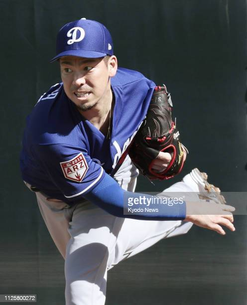 Kenta Maeda of the Los Angeles Dodgers throws in the bullpen at the team' spring training camp in Glendale Arizona on Feb 18 2019 ==Kyodo