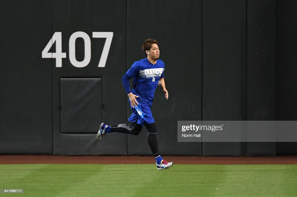 Kenta Maeda #18 of the Los Angeles Dodgers warms up prior to a game against the Arizona Diamondbacks at Chase Field on April 3, 2018 in Phoenix, Arizona.