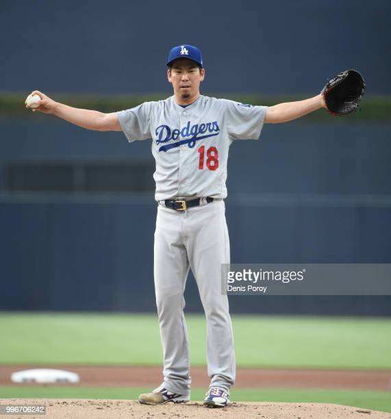 Kenta Maeda of the Los Angeles Dodgers warmsup before pitching in a baseball game against the San Diego Padres at PETCO Park on July 11 2018 in San...