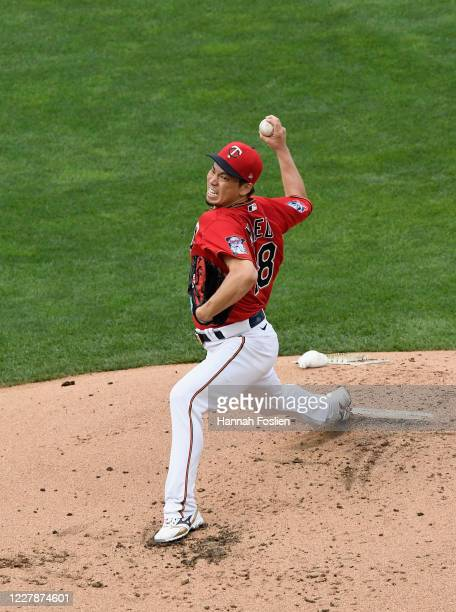Kenta Maeda of the Minnesota Twins delivers a pitch against the Cleveland Indians during the second inning of the game at Target Field on August 1,...